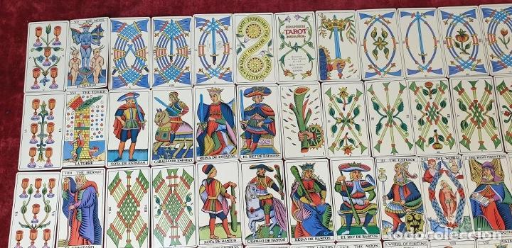 Barajas de cartas: TAROT ESPAÑOL. 78 CARTAS. COMPLETO. REPRODUCCIÓN DE UNO DE 1736. HERACLIO FOURNIER. 1975. - Foto 8 - 187665121