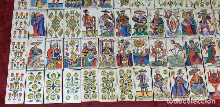 Barajas de cartas: TAROT ESPAÑOL. 78 CARTAS. COMPLETO. REPRODUCCIÓN DE UNO DE 1736. HERACLIO FOURNIER. 1975. - Foto 10 - 187665121