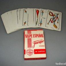 Barajas de cartas: BARAJA ESPAÑOLA FOURNIER 40 CARTAS - FIBRA MARFIL - PUBLICIDAD BOSCH - RIST.. Lote 189792077
