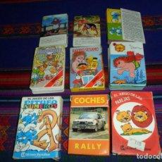 Barajas de cartas: EL JUEGO DE LAS PAREJAS BARRIO SÉSAMO (2) COCHES RALLY PEQUEÑECOS TOD Y TOBY DOMINÓ LOS PITUFOS.. Lote 190032383