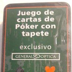 Barajas de cartas: CARTAS DE POKER POQUER CON TAPETE Y CAJA METALICA PRECINTADA. EXCLUSIVA PUBLICIDAD GENERAL OPTICA. Lote 190609345