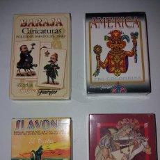 Barajas de cartas: LOTE DE 5 BARAJAS FOURNIER. SLAVONIC, ROMANCE ESPAÑOL, AMERICA PRECOLOMBINA, CARICATURAS Y RUSSIAN. Lote 192008342
