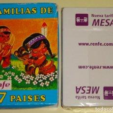 Barajas de cartas: BARAJA DE CARTAS INFANTIL. FOURNIER FAMILIAS 7 PAISES. RENFE NUEVA TARIFA MESA. PRECINTADA. 70 GR. Lote 193944527