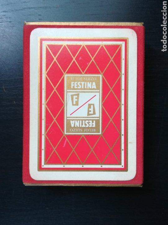 BARAJA FOURNIER PUBLICIDAD FESTINA RELOJ SUIZO - PRECINTADA - TIMBRE VERDE TRES PESETAS - POKER (Juguetes y Juegos - Cartas y Naipes - Barajas de Póker)