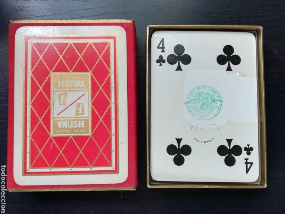 Barajas de cartas: Baraja Fournier publicidad Festina Reloj Suizo - Precintada - Timbre verde tres pesetas - Poker - Foto 7 - 194131960