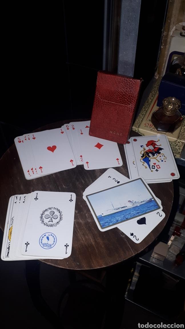 ANTIGUA BARAJA POKER BRIDGE HERON COMPLETA EN CAJA APENAS JUGADA PUBLICIDAD BARCO (Juguetes y Juegos - Cartas y Naipes - Barajas de Póker)