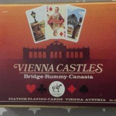 Barajas de cartas: VIENNA CASTLES, CARTAS BRIDGE RUMMY CANASTA, MADE IN AUSTRIA 2 BARAJAS. Lote 194235890