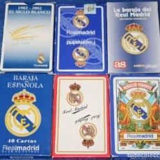 Barajas de cartas: LOTE DE 6 BARAJAS DEL REAL MADRID - FOURNIER ¡NAIPES IMEPCABLES!. Lote 194356726