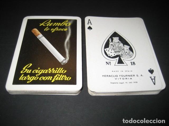 BARAJA POKER FOURNIER 1958. PUBLICIDAD CIGARRILLOS RUMBO. TABACO (Juguetes y Juegos - Cartas y Naipes - Barajas de Póker)
