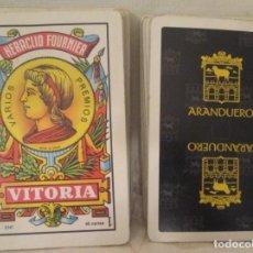 Barajas de cartas: DOS MAZOS COMPLETOS DE CARTAS BARAJA ESPAÑOLA HERACLIO FOURNIER, PUBLICIDAD ASADOR ARANDUERO. Lote 194497751