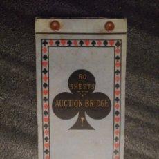 Barajas de cartas: LIBRETA ANTIGUA PRÁCTICAMENTE SIN USAR JUEGO DE CARTAS BRIDGE. Lote 194736250
