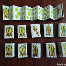 Barajas de cartas: LOTE DE 11 MINI BARAJAS DE 48 NAIPES TROQUELADOS AÑOS 70 ( TAMAÑO 6X4 CM ). Lote 194904340