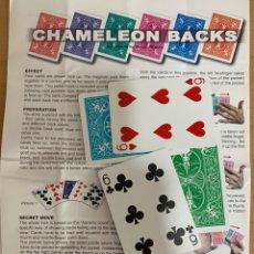 Barajas de cartas: TRUCO DE MAGIA DORSO CAMALEÓN. CARTOMAGIA.. Lote 195490298