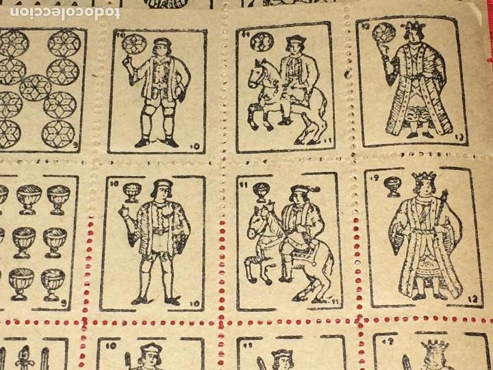 Barajas de cartas: NAIPES ESPAÑOLES EN PLIEGOS DE PAPEL - CON NUMERACIONES TRASERAS - AÑOS 30/40 - Foto 2 - 197090880