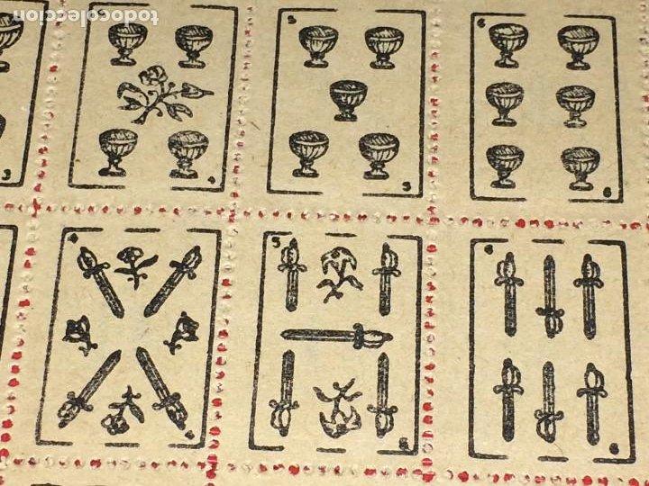 Barajas de cartas: NAIPES ESPAÑOLES EN PLIEGOS DE PAPEL - CON NUMERACIONES TRASERAS - AÑOS 30/40 - Foto 3 - 197090880