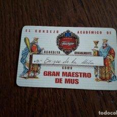 Barajas de cartas: NAIPE DE GRAN MAESTRO DEL MUS, CONSEJO ACADÉMICO DE FOURNIER.. Lote 198488346