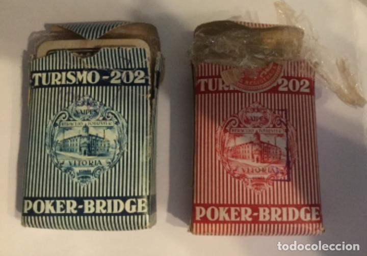 Barajas de cartas: 2 BARAJAS CON ESTUCHE - TURISMO 202 - POKER-BRIDGE - 1946 FOURNIER - PINACLE - NUEVAS - Foto 3 - 199046861