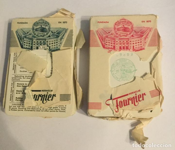Barajas de cartas: 2 BARAJAS DE NAIPES - POKER - 54+54 CARTAS - FOURNIER - CON ESTUCHE DE SEGUROS AURORA BILBAO -NUEVAS - Foto 3 - 199048463