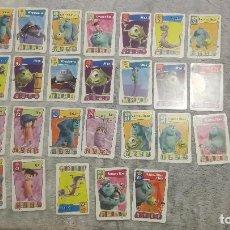 Barajas de cartas: MONSTRUOS INC._26 CARTAS JUEGO DE CARTAS DISNEY PIXAR GIGANTE TARJETAS CARTA MUNDI. Lote 200097455