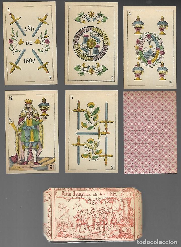 BARAJA DE NAIPES EL LEON CORONADO, IMPRESO POR BREPOLS, BELGICA 1896. 40 CARTAS, ENVOLTORIO ORIGINAL (Juguetes y Juegos - Cartas y Naipes - Baraja Española)