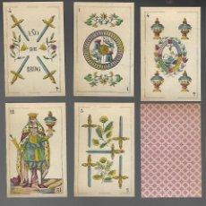 Barajas de cartas: BARAJA DE NAIPES EL LEON CORONADO, IMPRESO POR BREPOLS, BELGICA 1896. 40 CARTAS, ENVOLTORIO ORIGINAL. Lote 200158455
