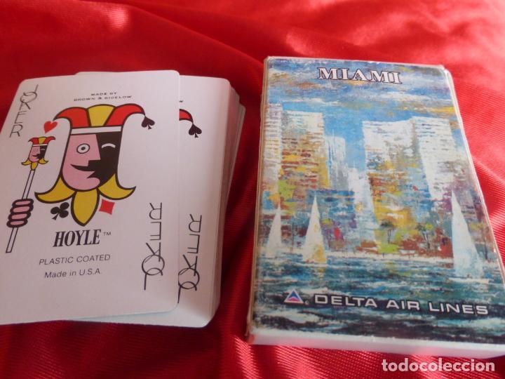 BARAJA DE CARTAS DE POKER CON PUBLICIDAD DE MIAMI DELTA AIR LINES - COMPLETA Y EN BUEN ESTADO (Juguetes y Juegos - Cartas y Naipes - Barajas de Póker)