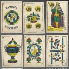 Barajas de cartas: BARAJA FABRICA DE BARCELONA, EL LEON RAMPANTE. ESCUDO DE CATALUÑA CON CORONA EN OROS.. Lote 200890593