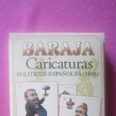 Barajas de cartas: BARAJA CARICATURAS POLITICOS ESPAÑOLES 1868 48 CARTAS CON ESTUCHE. Lote 201245572