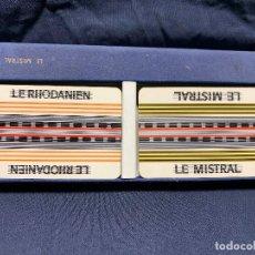 Barajas de cartas: NAIPES CARTAS BARAJAS 2 ESTUCHE TRENES FRANCIA SNCF MISTRAL RHODANIEN GRIMAUD CARTES JOUER 20X7X3CMS. Lote 202653150