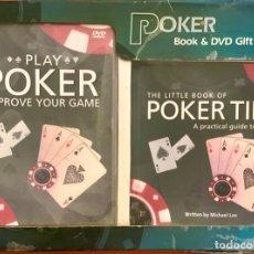 Barajas de cartas: LOTE POKER - DVD PLAY POKER + BOOK THE POKER TIPS. Lote 202905143