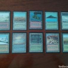 Barajas de cartas: LOTE COMPLETO MTG MAGIC 10 TIERRAS DOBLES PROXY DUAL LAND. Lote 205557608