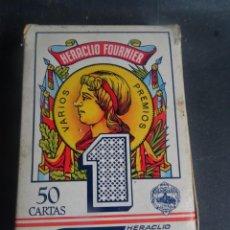 Barajas de cartas: ANTIGUA BARAJA DE NAIPES OPACO MARFIL, Nº1 50 CARTAS, FOURNIER , VER FOTOS. Lote 205832613