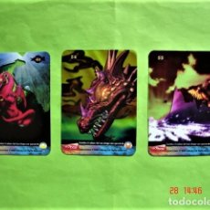Barajas de cartas: CARTAS MAGIA PLÁSTICAS DRAGONIX NÚMEROS 46, 54 Y 55. EDIBAS 2008. Lote 206912636