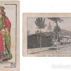 Barajas de cartas: RARA Y ANTIGUA CARTA DE LA BARAJA ESPAÑOLA.12 REY DE COPAS. DORSO ESTACIÓN TREN SOLLER, MALLORCA. Lote 209324796