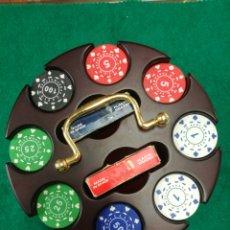 Barajas de cartas: PRECIOSO JUEGO DE POKER EN MADERA CASINO AQUAMARINE GAMES 200 FICHAS. Lote 209911066