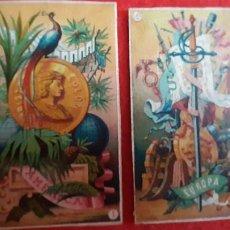 Baralhos de cartas: LOTE DE 2 NAIPES RECORTADOS BARAJA SIGLO XIX MUY ANTIGUAS ORIGINAL CRT1. Lote 210328230