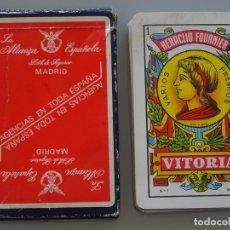 Barajas de cartas: BARAJA DE CARTAS ESPAÑOLA. FOURNIER. SEGUROS LA ALIANZA ESPAÑOLA. 90GR. Lote 210839015