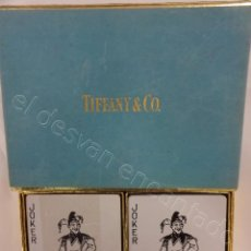 Barajas de cartas: ESTUCHE TIFFANY & CO. DOBLE BARAJA DE POKER. DOS REVERSOS DIFERENTES. COMPLETAS. Lote 212383037