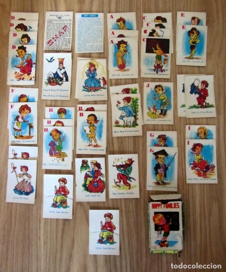 BARAJA INFANTIL ANTIGUA HAPPY FAMILIES SNAP 42 CARTAS Y 2 INSTRUCCIONES MADE IN HONG KONG (Juguetes y Juegos - Cartas y Naipes - Barajas Infantiles)