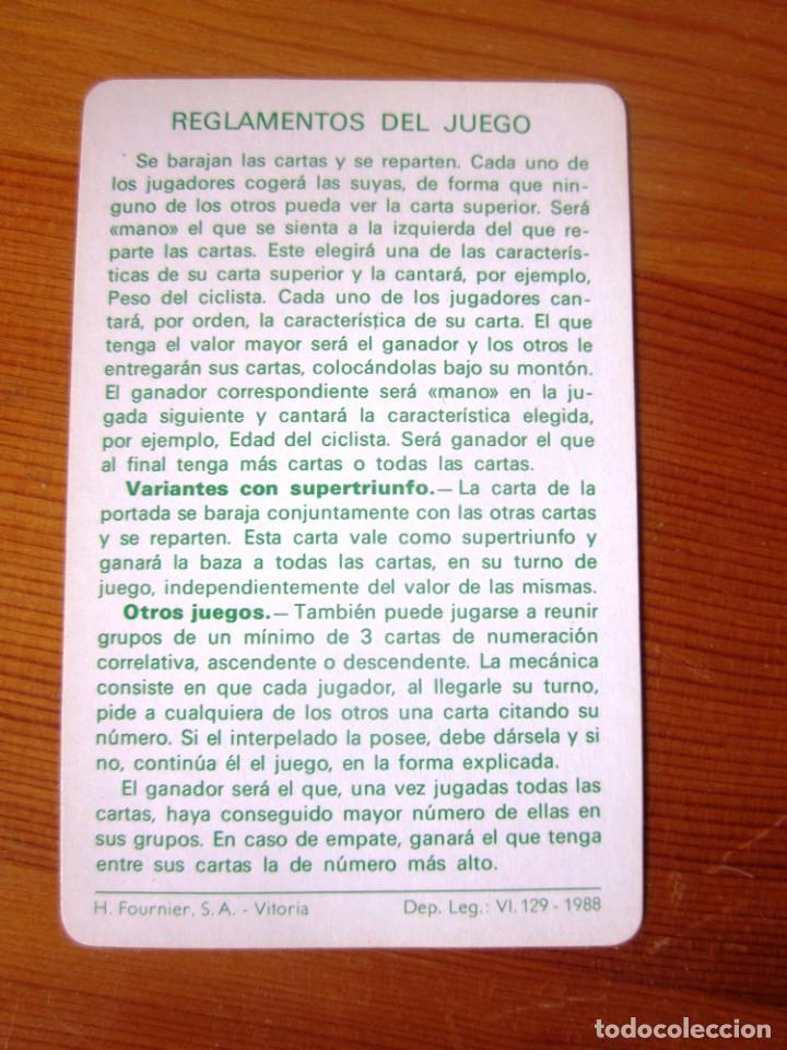 Barajas de cartas: Baraja Juego de Cartas naipes Fournier ASES DEL CICLISMO. FOURNIER. 1988. - Foto 6 - 213000787