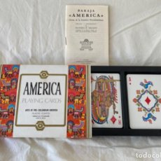 Barajas de cartas: BARAJA HERACLIO FOURNIER AMERICA PLAYING CARDS NUEVAS 2 NAIPES COLECCION. Lote 213379525