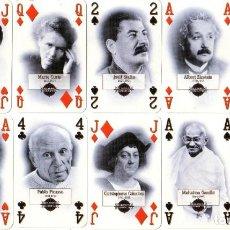 Jeux de cartes: MILLENNIUM - PERSONAJES HISTÓRICOS - ARTE- MÚSICA - POLÍTICA - CIENCIA - BARAJA DE POKER. Lote 217121417