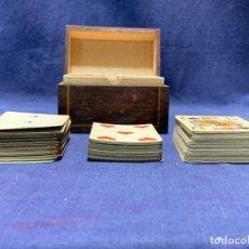 Barajas de cartas: CAJA FRANCESA MITAD S XIX 3 BARAJAS NAIPES BRIDGE POKER S XIX FILO DORADO 8X11,5X7CMS. Lote 217326402
