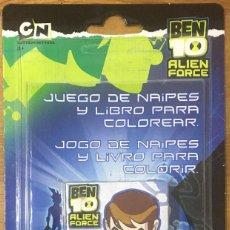 Barajas de cartas: BARAJA DE CARTAS BEN 10 JUEGO DE NAIPES CON LIBRO PARA COLOREAR FOURNIER. Lote 217711406