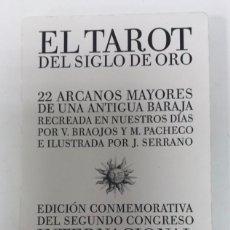 Barajas de cartas: TAROT SIGLO DE ORO ILUSTRADOR JAVIER SERRANO IDEA M. PACHECO Y V. BRAOJOS 22 NAIPES. Lote 217903733