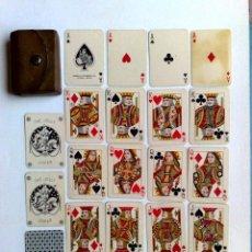 Barajas de cartas: MINI BARAJA DE NAIPES DE POKER,52 CARTAS+2 JOKER EN SU ESTUCHE DE CUERO.. Lote 218269980