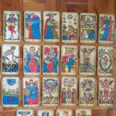 Barajas de cartas: MUY ANTIGUA BARAJA DEL TAROT. 22 ARCANOS MAYORES. CARTAS DE MARFIL DE GRANDES DIMENSIONES 14,5 X 8,1. Lote 218435748