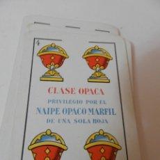 Barajas de cartas: BARAJA DE CARTAS HERACLIO FOURNIER Nº1 VITORIA ESPAÑA CLASE OPACA PRIVILEGIO POR NAIPEO OPACO MARFIL. Lote 219257492