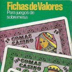 Barajas de cartas: FICHAS DE VALORES NAIPES COMAS. Lote 294027363