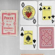 Barajas de cartas: BARAJA DE POKER INGLES Nº 52, HIJA DE B. FOURNIER, BURGOS. SIN TIMBRE AÑOS 60, PRECINTADA.. Lote 219774241
